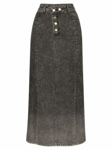 SJYP washed denim midi skirt - Black