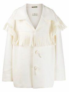 Maison Margiela fringed buttoned coat - White