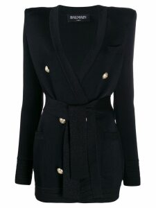Balmain double-breasted woven blazer - Black