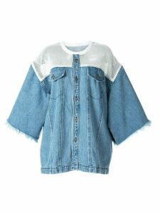 Pony Stone mesh panel denim shirt - Blue