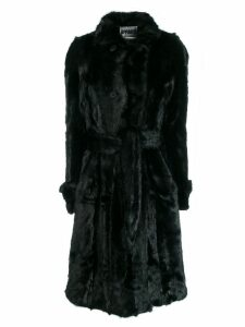 Apparis belted faux-fur coat - Black