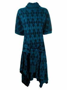 Chloé argyle asymmetric knitted dress - Blue