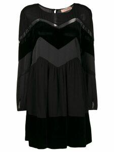 Twin-Set zig zag panel mini dress - Black