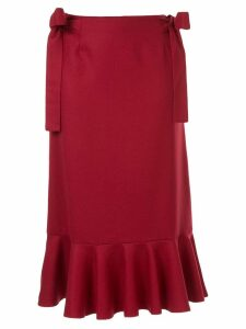 Sueundercover bow detail midi skirt - Red