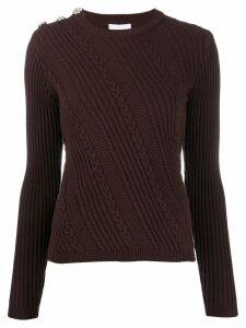 Ganni slim fit cable knit jumper - Brown