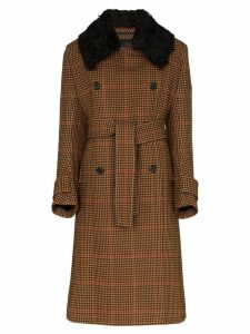 Wales Bonner Houndstooth checked coat - Brown