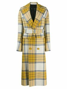 Christian Wijnants Cela check print coat - Yellow