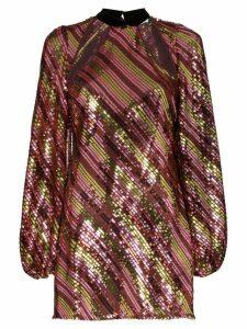 Rixo Harriet cut-out neck sequinned mini-dress - Metallic