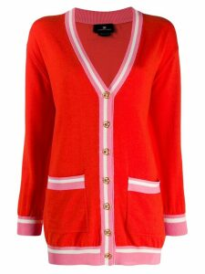 Elisabetta Franchi striped trim cardigan - Red