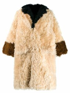 Marni panelled fur coat - NEUTRALS