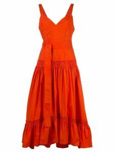 Proenza Schouler Sleeveless Tiered Cotton Poplin Dress - Orange