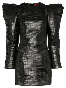 Ronald Van Der Kemp snake print mini dress - Black