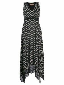 Twin-Set chevron print maxi dress - Black