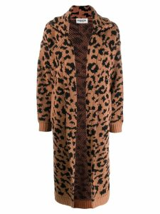 Essentiel Antwerp leopard-print knitted coat - Black