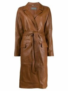 Alberta Ferretti belted leather coat - Brown