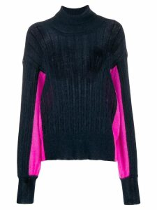 Maison Flaneur two-tone roll neck sweater - Blue