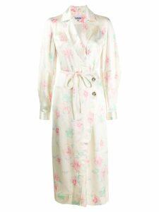 Ganni wrap front floral dress - Neutrals