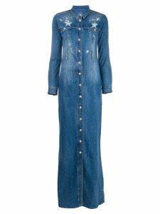Philipp Plein Star studded denim maxi dress - Blue