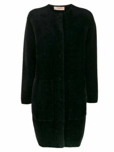 Twin-Set textured button up coat - Black