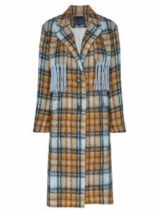 SJYP Checked fringe detail mid-length coat - 108 - Multicoloured