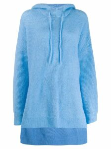 Ganni oversized knit hoodie - Blue