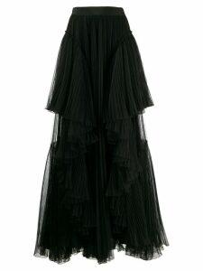 Alberta Ferretti ruffled trim skirt - Black