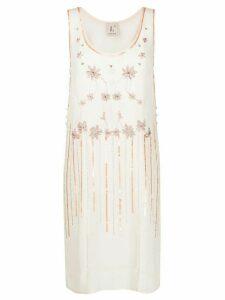 L'Autre Chose floral-embroidered crepe dress - Neutrals
