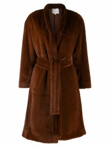 Vince textured belted coat - Brown