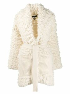 Alanui belted wrap-style coat - White
