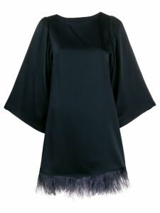 Semicouture feather trimmed shift dress - Blue