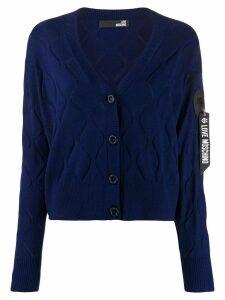 Love Moschino wave-embellished cardigan - Blue
