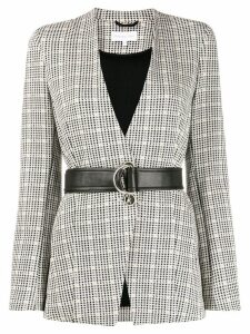 Patrizia Pepe check patterned belted blazer - Black