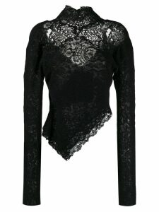 Ermanno Scervino long-sleeved lace top - Black