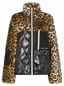 Sandy Liang Dean leopard-print panel jacket - Brown