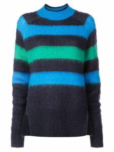 Proenza Schouler PSWL Brushed Stripe Wool Mohair Sweater - Blue
