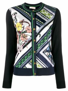 Tory Burch printed panelled cardigan - Blue