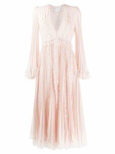 Giambattista Valli v-neck lace midi dress - Pink
