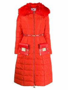 Elisabetta Franchi belted padded coat - Orange
