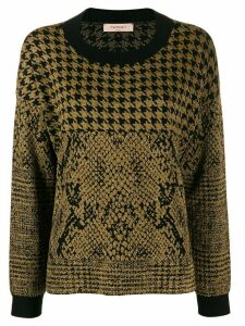 Twin-Set houndstooth and animal pattern jacquard sweater - Black