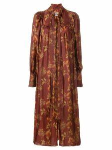 Uma Wang botanical print long dress - Red