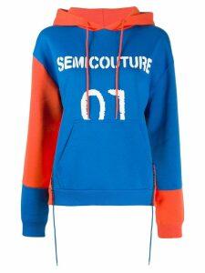 Semicouture logo print hoodie - Blue