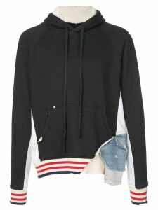 Greg Lauren distressed patchwork hoodie - Black