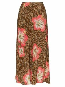 Rixo Kelly animal floral print midi-skirt - Brown