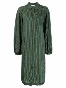 Ganni check print shirt dress - Green