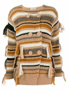 Maison Flaneur double breasted striped cardigan - Brown