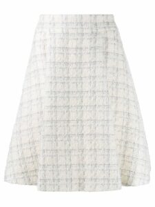 Genny checked tweed a-line skirt - White