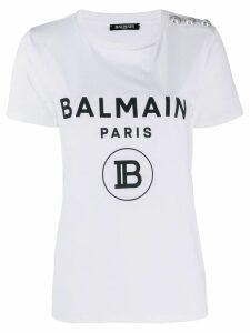 Balmain logo button T-shirt - White