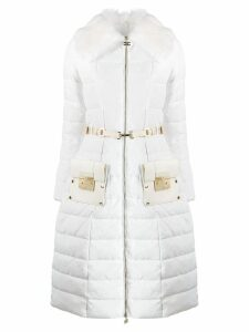 Elisabetta Franchi padded zipped coat - White