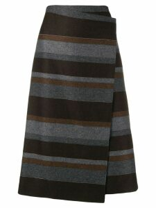 Brunello Cucinelli striped midi skirt - Brown