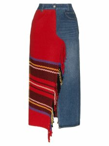 SJYP denim mix fringed midi skirt - Red